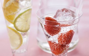 Fresas en la bebida