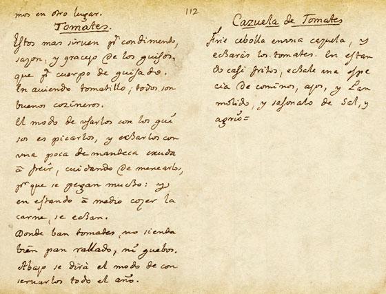Tomate, recetario manuscrito de Antonio Salsete (s.XVII)