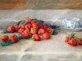 Naturaleza muerta con fresas y taza de té